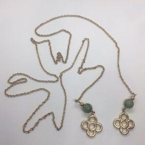 Gold Tone Clover Jade Jadeite Tie Necklace